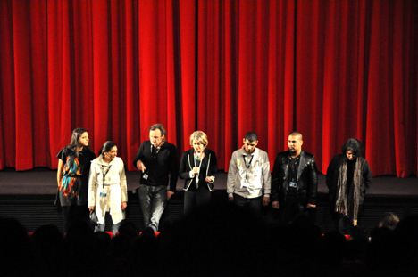Adina Curta, Maria Calderar, Philip Scheffner, Dorothee Wenner, Calin Calderar, Colorado Velcu und Merle Kröger at the Q&A with the audience.